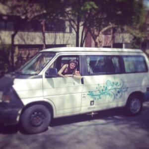 Sue in Hippie Van