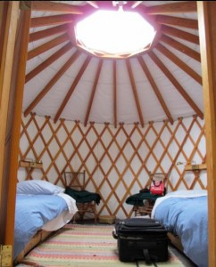 Inside one of the yurts at Stowel Lake Farm